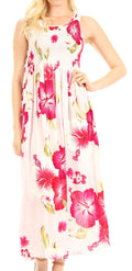 Sakkas Iyabo Women's Sleeveless Casual Summer Floral Print Dress Maxi Long Stretch#color_W-Pink