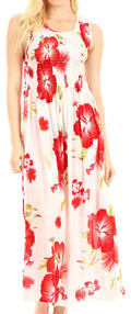 Sakkas Iyabo Women's Sleeveless Casual Summer Floral Print Dress Maxi Long Stretch#color_W-Red