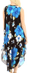 Sakkas Aba Women's Casual Summer Floral Print Sleeveless Loose Dress Cover-up#color_B-Blue