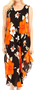 Sakkas Aba Women's Casual Summer Floral Print Sleeveless Loose Dress Cover-up#color_B-Orange