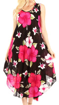 Sakkas Aba Women's Casual Summer Floral Print Sleeveless Loose Dress Cover-up#color_B-Pink
