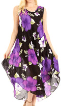 Sakkas Aba Women's Casual Summer Floral Print Sleeveless Loose Dress Cover-up#color_B-Purple