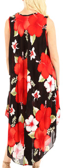 Sakkas Aba Women's Casual Summer Floral Print Sleeveless Loose Dress Cover-up