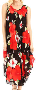 Sakkas Aba Women's Casual Summer Floral Print Sleeveless Loose Dress Cover-up#color_B-Red