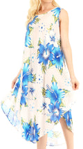Sakkas Aba Women's Casual Summer Floral Print Sleeveless Loose Dress Cover-up#color_W-Blue