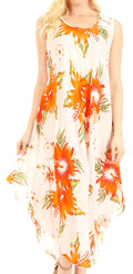 Sakkas Aba Women's Casual Summer Floral Print Sleeveless Loose Dress Cover-up#color_W-Orange