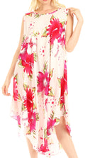 Sakkas Aba Women's Casual Summer Floral Print Sleeveless Loose Dress Cover-up#color_W-Pink