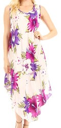 Sakkas Aba Women's Casual Summer Floral Print Sleeveless Loose Dress Cover-up#color_W-Purple