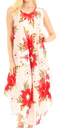 Sakkas Aba Women's Casual Summer Floral Print Sleeveless Loose Dress Cover-up#color_W-Red