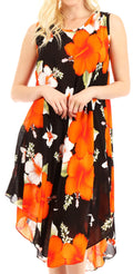 Sakkas Clara Women's Casual Summer Sleeveless Sundress Loose Floral Print Dress#color_B-Orange