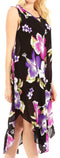 Sakkas Clara Women's Casual Summer Sleeveless Sundress Loose Floral Print Dress