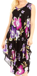 Sakkas Clara Women's Casual Summer Sleeveless Sundress Loose Floral Print Dress#color_B-Purple