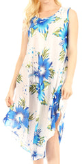 Sakkas Clara Women's Casual Summer Sleeveless Sundress Loose Floral Print Dress#color_W-Blue