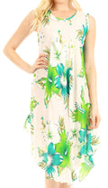 Sakkas Clara Women's Casual Summer Sleeveless Sundress Loose Floral Print Dress#color_W-Green