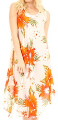 Sakkas Clara Women's Casual Summer Sleeveless Sundress Loose Floral Print Dress#color_W-Orange