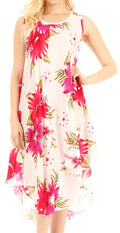 Sakkas Clara Women's Casual Summer Sleeveless Sundress Loose Floral Print Dress#color_W-Pink