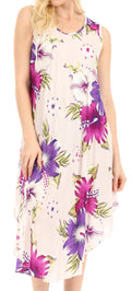 Sakkas Clara Women's Casual Summer Sleeveless Sundress Loose Floral Print Dress#color_W-Purple
