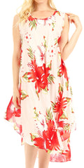 Sakkas Clara Women's Casual Summer Sleeveless Sundress Loose Floral Print Dress#color_W-Red