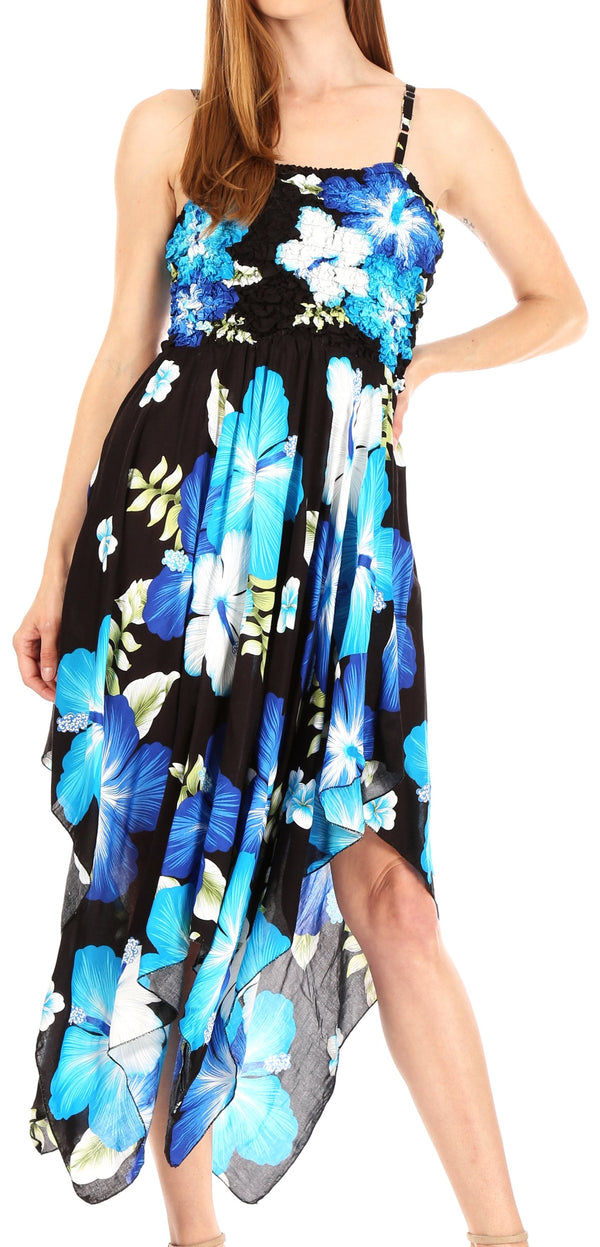 Sakkas Hamisi Women's Tube Spaghetti Strap Floral Print Summer Casual Short Dress#color_B-Blue