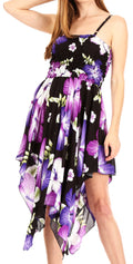 Sakkas Hamisi Women's Tube Spaghetti Strap Floral Print Summer Casual Short Dress#color_B-Purple
