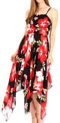 Sakkas Hamisi Women's Tube Spaghetti Strap Floral Print Summer Casual Short Dress#color_B-Red
