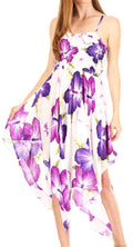 Sakkas Hamisi Women's Tube Spaghetti Strap Floral Print Summer Casual Short Dress#color_W-Purple