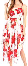 Sakkas Hamisi Women's Tube Spaghetti Strap Floral Print Summer Casual Short Dress#color_W-Red