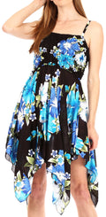 Sakkas Kiera Women's Tube Spaghetti Strap Floral Print Summer Casual Short Dress#color_B-Blue