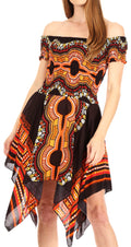Sakkas Femi Women's Casual Cocktail Off Shoulder Dashiki African Stretchy Dress#color_Black