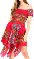 Sakkas Femi Women's Casual Cocktail Off Shoulder Dashiki African Stretchy Dress#color_Fuchsia