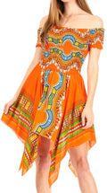 Sakkas Femi Women's Casual Cocktail Off Shoulder Dashiki African Stretchy Dress#color_Orange