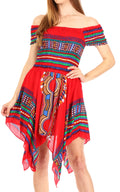 Sakkas Femi Women's Casual Cocktail Off Shoulder Dashiki African Stretchy Dress#color_Red