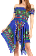 Sakkas Femi Women's Casual Cocktail Off Shoulder Dashiki African Stretchy Dress#color_Royalblue