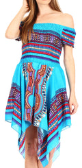 Sakkas Femi Women's Casual Cocktail Off Shoulder Dashiki African Stretchy Dress#color_Turquoise