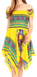 Sakkas Femi Women's Casual Cocktail Off Shoulder Dashiki African Stretchy Dress#color_Yellow