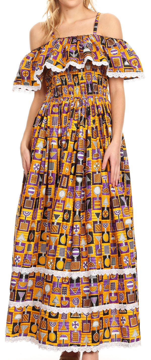 Sakkas Afua Women's Long Maxi African Ankara Wax Print with Overlay and Pockets#color_1146-mustard/purple