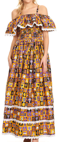 Sakkas Afua Women's Long Maxi African Ankara Wax Print with Overlay and Pockets