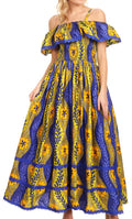 Sakkas Afua Women's Long Maxi African Ankara Wax Print with Overlay and Pockets#color_1147-Royalblue/lime