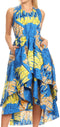 Sakkas Ada Ankara Wax Dutch African  Sleeveless Dress Cascading Hi Low Layers#color_1145 Turq/lemon-deco