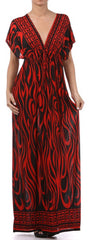 Flames on Solid Black Graphic Print V-Neck Cap Sleeve Empire Waist Long / Maxi Dress