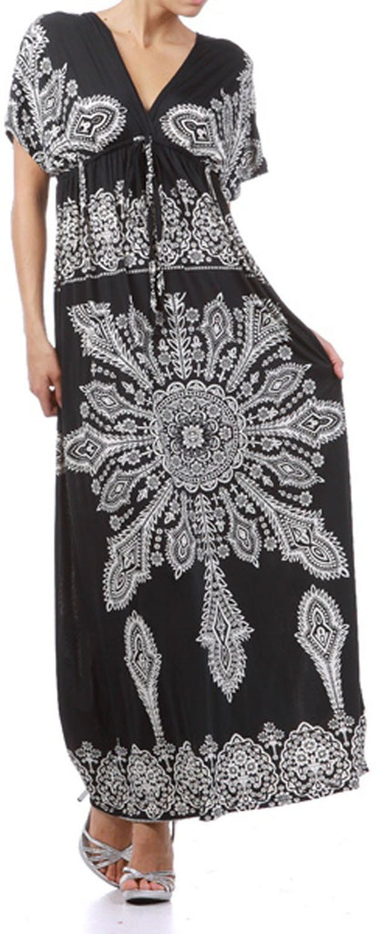 Printed V-Neck Cap Sleeve Empire Waist Long / Maxi Dress