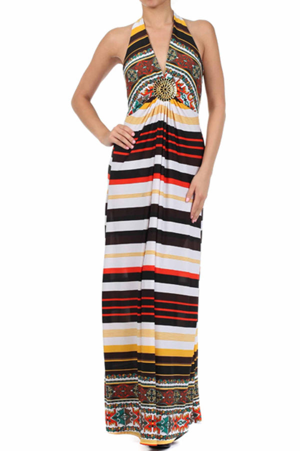 Sakkas Aztec Stripe Medallion Halter Maxi Dress