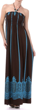 Vertical Stripes Print Beaded Halter Smocked Bodice Long / Maxi Dress