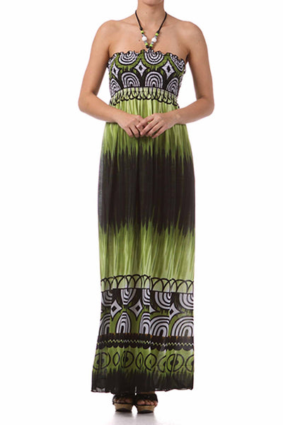 Sakkas Geometric Arches Beaded Halter Smocked Bodice Long Dress