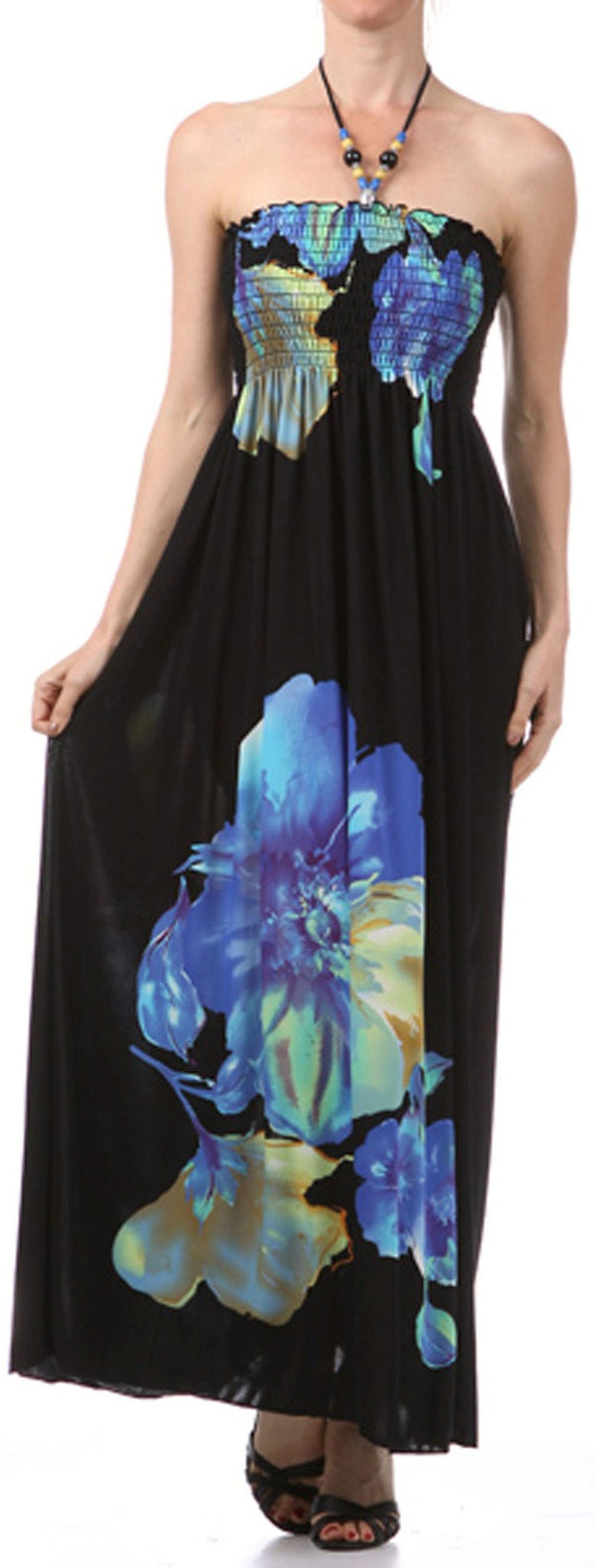 Sakkas Floral on Black Graphic Print Beaded Halter Smocked Bodice Maxi Dress
