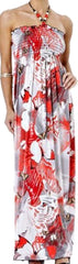 Sakkas Butterfly Graphic Print Beaded Halter Smocked Bodice Maxi / Long Dress