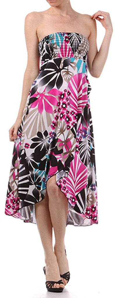 Graphic Leaf Print Strapless High Low Dress / Skirt