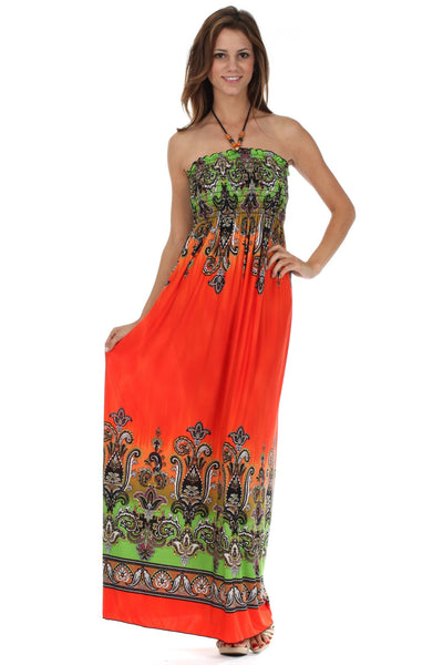 Sakkas Paisley Graphic Print Beaded Halter Smocked Bodice Maxi Dress