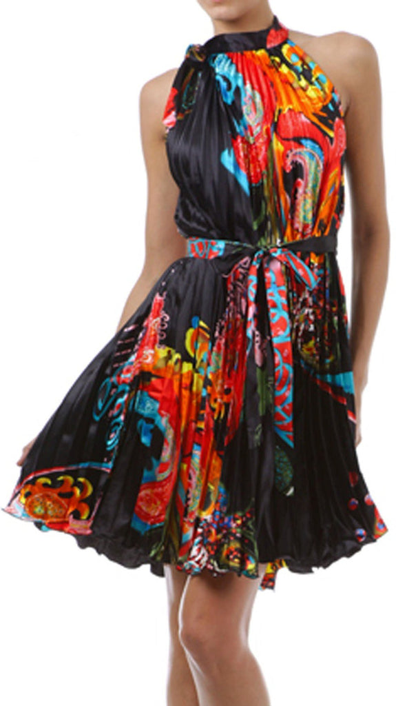 Satin Pleated Short Sleeveless Dress with Paisley Design
