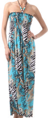 Wild Zebra Inspired Graphic Print Beaded Halter Smocked Bodice Long / Maxi Dress